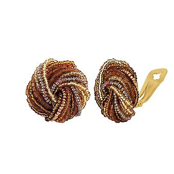 Eternal Collection Sienna Murano Glass Torsade Clip On Earrings
