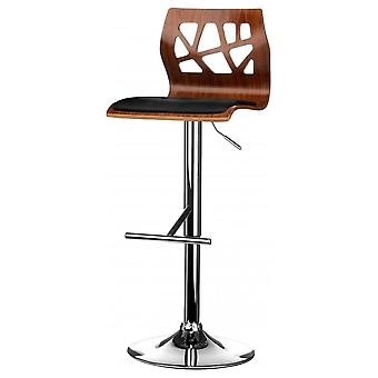 Fusion Living Walnut And Black Faux Leather Contemporary Cut Out Bar Stool