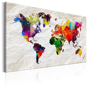 Schilderij - World Map: Rainbow Madness