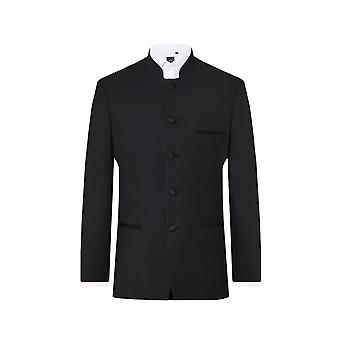 Dobell Mens Black Tuxedo Jacket Regular Fit Mandarin Collar