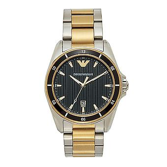 Armani Watches Ar80017 Black Silver & Gold Stainless Steel Men's Watch
