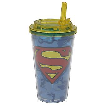 Cold Cup - DC Comics - Superman Logo w/ Flip Straw 16oz 37823