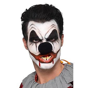 Killer Clown Facepaint-pakkaus, jossa 3 väriä veren nenä hampaiden sieni & harja