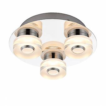 3 Light Bathroom Flush Ceiling Light Chrome, Frosted Acrylic Ip44