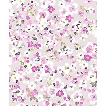 Blossom Floral Wallpaper Grey Yellow Heather Lime Aquacolor Paste Wall Holden