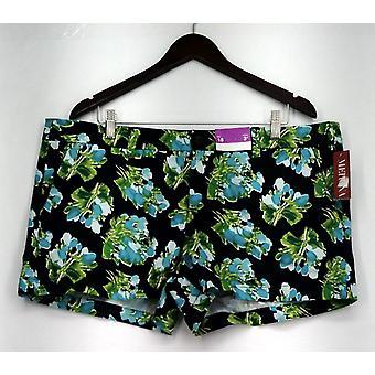Merona Shorts Zip Front Printed Floral Casual Shorts Black/ Green Womens