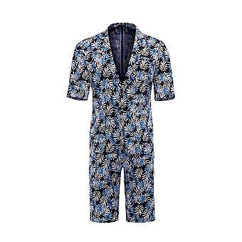 Alle Themen Men's Kurzarm Anzüge 2-teilige Palm Leaf gedruckt kurze Blazer & kurze Hose