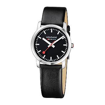 Mondaine gewoon elegante zwarte lederen riem dames horloge A400.30351.14SBB 36mm