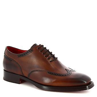 Leonardo kengät käsintehdyt pitsi-UPS brogues kengät miehille Brandy vasikka nahkaa