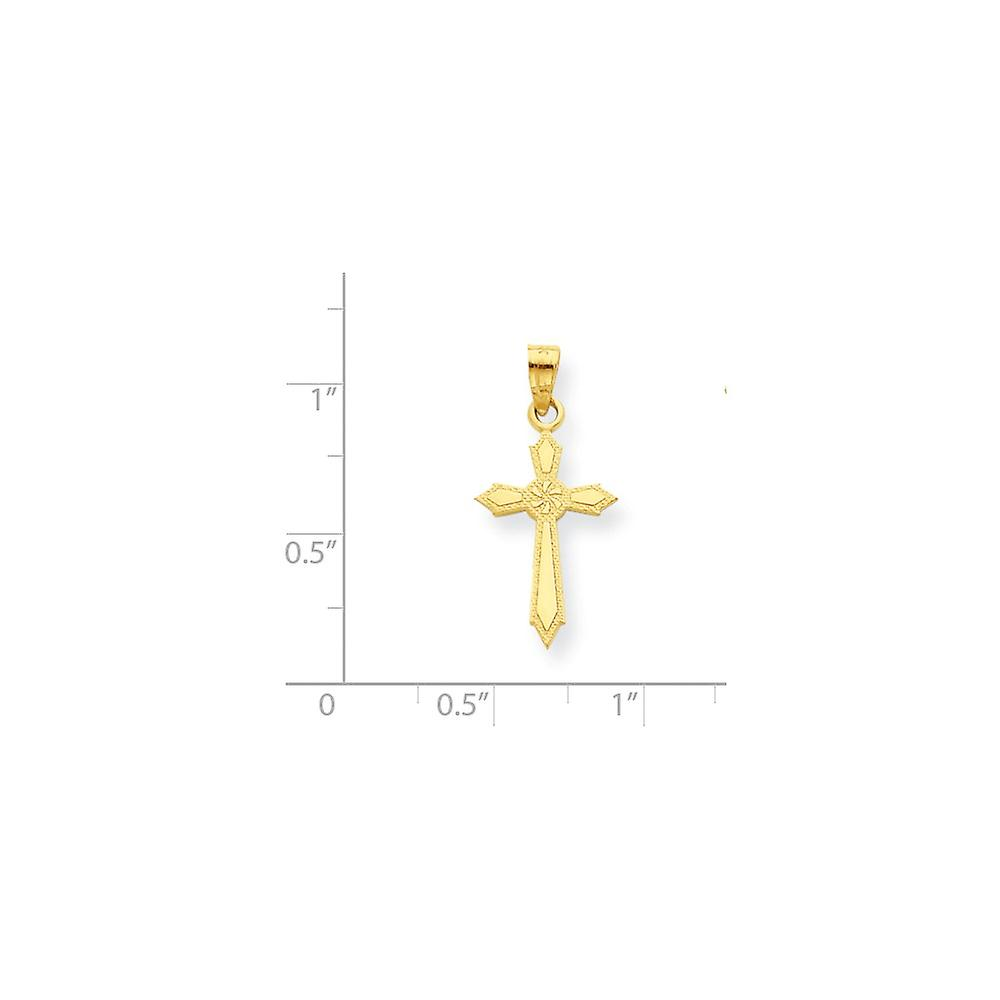 10k Yellow Gold Polished Passion Religious Faith Cross Pendant Necklace Jewelry Gifts for Women