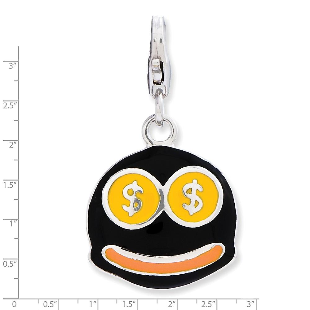 925 Sterling Silver Rhodium plated Fancy Lobster Closure Enameled 3 d Money Face With Lobster Clasp Charm Pendant Neckla