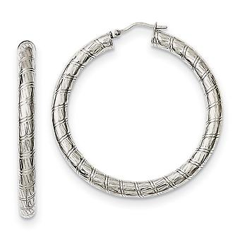 Stainless Steel Polished Textured Hollow Hoop Earrings Jewelry Gifts for Women