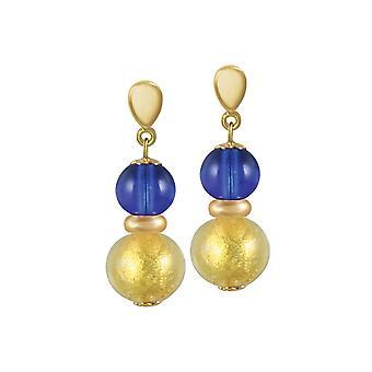 Eternal Collection Veneto Sapphire Blue Murano Glass Gold Tone Drop Clip On Earrings