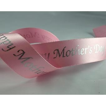 20m Pink 25mm Wide Happy Mother's Day Satin Ribbon for Crafts