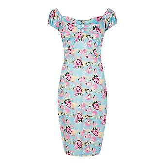 Collectif Vintage Women's Dolores Pencil Origami Floral Peony Print Dress