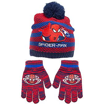 Spider-Man Boys Striped Beanie Bobble Hat And Gloves Set