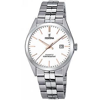 Festina F20437-A Uhr - CLASSIC Steel Silver Dial White Men