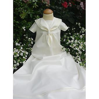 Dopklänning - Sjömansklänning I Off White, Kort ärm