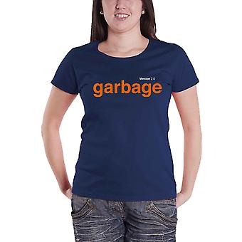 Garbage T Shirt Version 2.0 Album Band Logo new Official Womens Skinny Fit Blue
