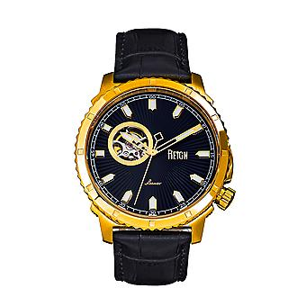 Reign Bauer Automatic Semi-SkeletonLeather-Band Watch - Gold/Black