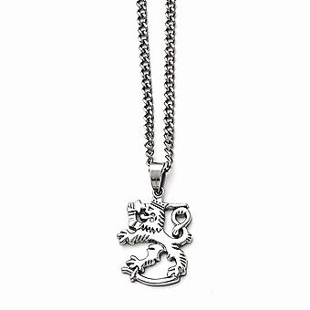 Roestvrij stalen gepolijste leeuw met 2 inch Ext. Ketting 18 Inch sieraden geschenken voor vrouwen