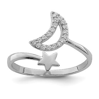 925 Sterling Silver Rhodium plaqué CZ Cubic Zirconia Simulated Diamond Celestial Moon and Star Ring Jewelry Gifts for Wo
