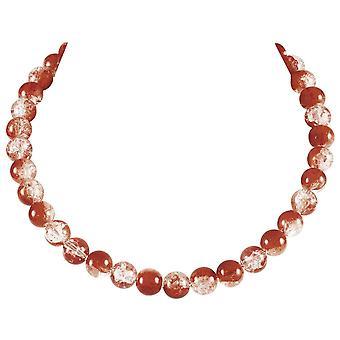 Ewige Sammlung Karneval Zimt Tschechische Glas Crackle Perle Silber Ton Halskette
