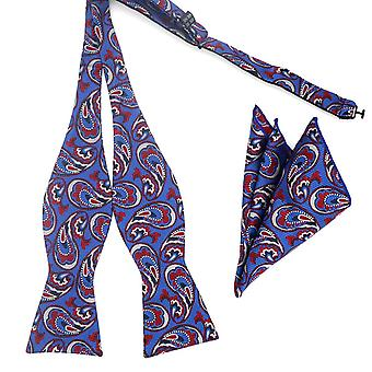 Bright blue & red paisley bow self tie & pocket square