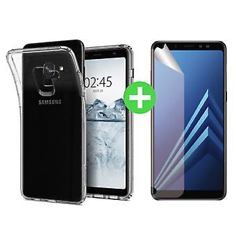 Stuff Certified® Samsung Galaxy A8 2018 Transparent TPU Case + Screen Protector Foil