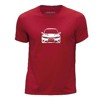 STUFF4 Boy's wokół szyi samochód Shirt/Stencil Art / Civic FN2-czerwony