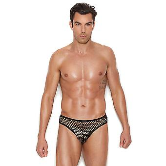 Mens Black Fishnet Thong Back Brief Underwear
