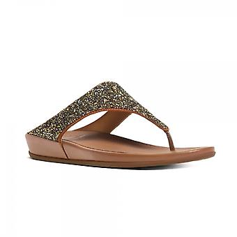 FitFlop Banda Crystal™ Ladies Toe Post Sandals Embelezados Bronze