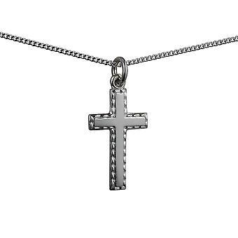 Серебряные 25x25mm равнина с рельефной границей крест с бордюр цепь 24 дюймов