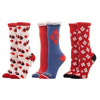 Харли Квинн красный белый голубой 3 пакет женские носки