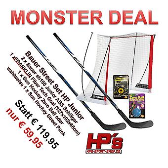 Set Price BAUER 2 x SH100 ABS Racket Junior + 50 Inch Goal + Puck or Ball