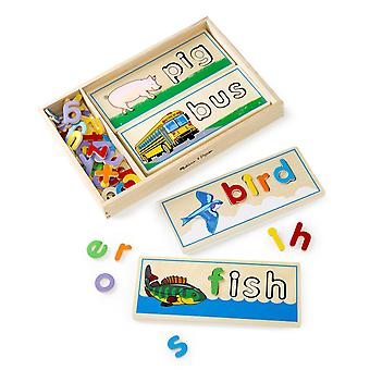 Melissa & Doug See & Spell Wooden Educational Toy With 8 Double-sided Spelling B