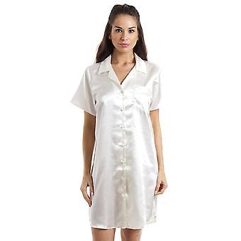 Camille luxe knie lengte Cream satijnen Nachthemd