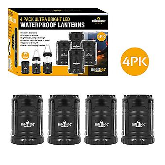 Milestone 4 Pack Ultra Bright LED Waterproof Camping Lantern Black