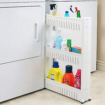 Modern Home Narrow Sliding Storage Organizer Rack - Laundry/Bathroom/Kitchen Portable Storage Shelves