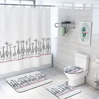 4 Piece Deer Shower Curtain Set