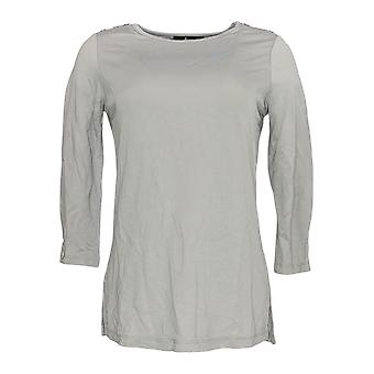 Dennis Basso Mujeres's Top Boat Neck Knit 3/4 Manga Gris A298275