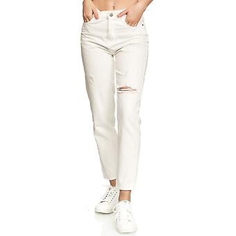 Women Mom Jeans Denim Wide High-Waist Pants Cropped Destroyed Look Rips Design