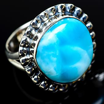 Larimar Ring Size 7.25 (925 Sterling Silver)  - Handmade Boho Vintage Jewelry RING11446
