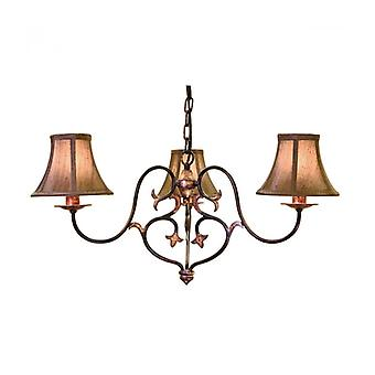 Coniston Pendant, Burnished Gold, 3 Bulbs, Without Lampshade