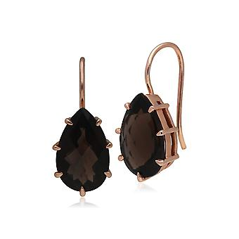 Kosmos Smokey Quartz Earrings in Rose Gold Plated Sterling Silver T0961E9071