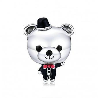 Sterling Silver Charm Wedding Bear - 6597