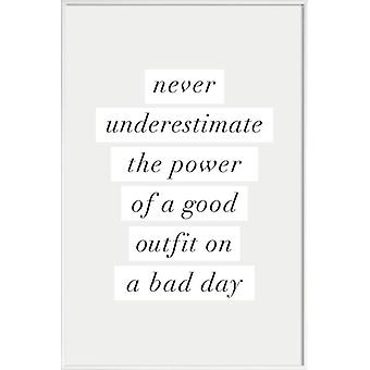 JUNIQE Print - Good Outfit on a Bad Day - Quotes & Slogans Poster in Cream White & White