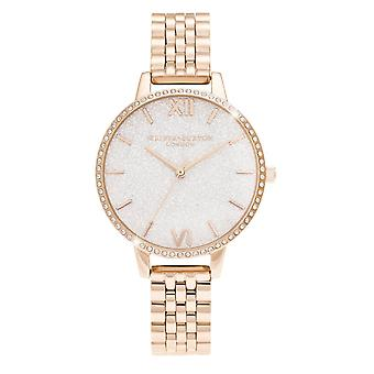 Olivia Burton Watches Ob16gd67 White Demi Glitter Dial Sparkle Bezel Rose Gold Ladies Watch
