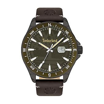 Timberland Watches Tbl.15941jyuk/53 Swampscott Brown Leather Khaki Green Men's Watch