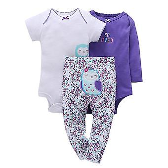 3Pcs Baby Outfit,Bodysuit, Top And Pants -Owl